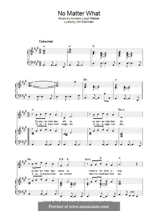 No Matter What (from Whistle Down the Wind): For voice and piano (or guitar) by Andrew Lloyd Webber