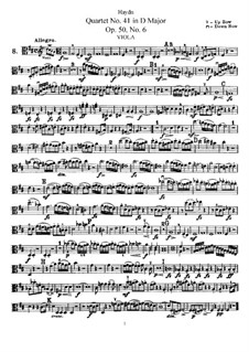 String Quartet No.41 in D Major, Hob.III/49 Op.50 No.6: Viola part by Joseph Haydn