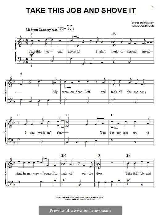 Take This Job and Shove It: For piano by David Allen Coe