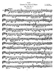String Quartet No.44 in E Major, Hob.III/59 Op.54 No.3: Violin II part by Joseph Haydn