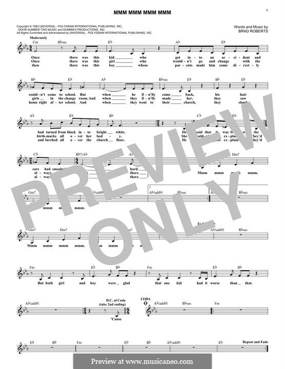 Mmm Mmm Mmm Mmm (Crash Test Dummies): Melody line by Brad Roberts
