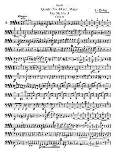 String Quartet No.44 in E Major, Hob.III/59 Op.54 No.3: Cello part by Joseph Haydn