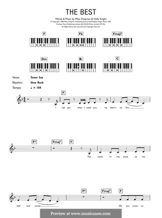 (Simply) The Best (Tina Turner): For keyboard by Holly Knight, Mike Chapman
