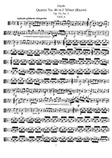 String Quartet No.46 in F Minor 'Razor', Hob.III/61 Op.55 No.2: Viola part by Joseph Haydn