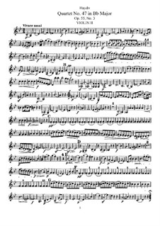 String Quartet No.47 in B Flat Major, Hob.III/62 Op.55 No.3: Violin II part by Joseph Haydn