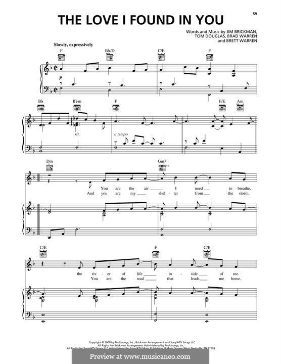 The Love I Found in You: For voice and piano (or guitar) by Brad Warren, Brett Warren, Jim Brickman, Tom Douglas