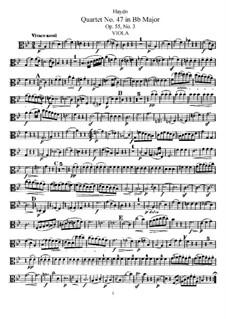 String Quartet No.47 in B Flat Major, Hob.III/62 Op.55 No.3: Viola part by Joseph Haydn