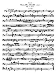 String Quartet No.47 in B Flat Major, Hob.III/62 Op.55 No.3: Cello part by Joseph Haydn