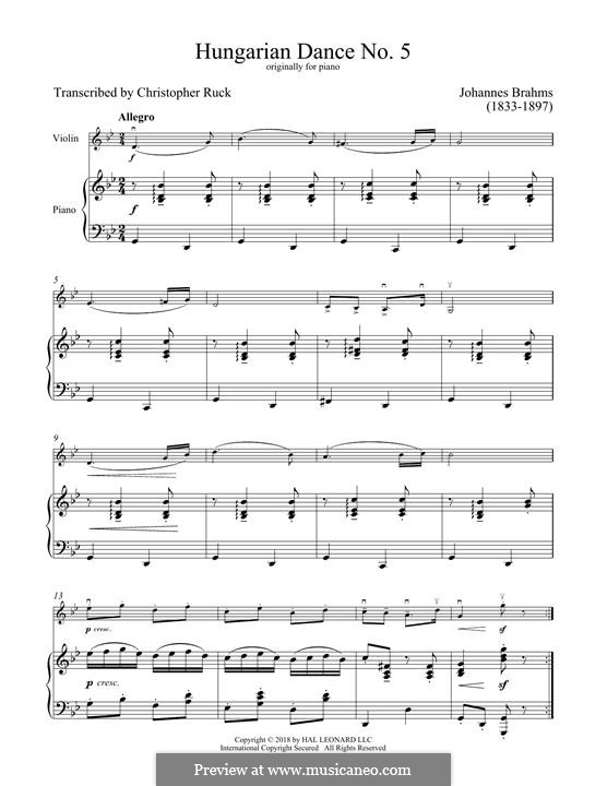 Dance No.5 in F Sharp Minor (Printable scores): For violin and piano by Johannes Brahms