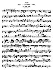String Quartet No.48 in C Major, Hob.III/65 Op.64 No.1: Violin I part by Joseph Haydn