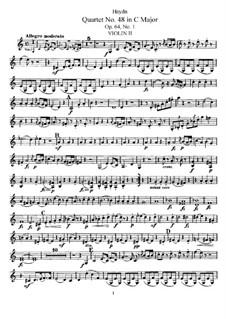 String Quartet No.48 in C Major, Hob.III/65 Op.64 No.1: Violin II part by Joseph Haydn