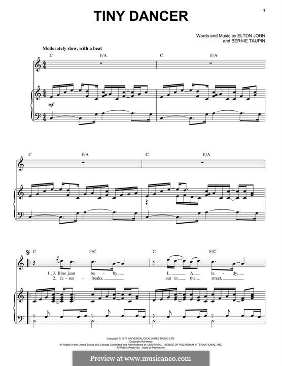 Tiny Dancer: For voice and piano by Elton John
