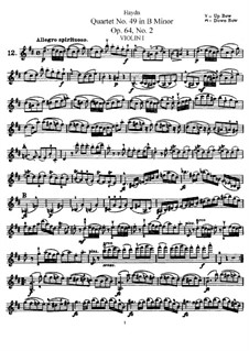 String Quartet No.49 in B Minor, Hob.III/68 Op.64 No.2: Violin I part by Joseph Haydn