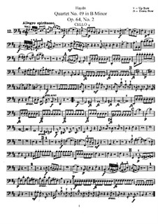 String Quartet No.49 in B Minor, Hob.III/68 Op.64 No.2: Cello part by Joseph Haydn