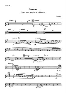 Pavane pour une infante défunte (Pavane for a Dead Princess), M.19: Flute II part by Maurice Ravel