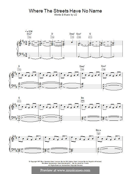 Where the Streets Have no Name: For voice and piano (or guitar) by U2