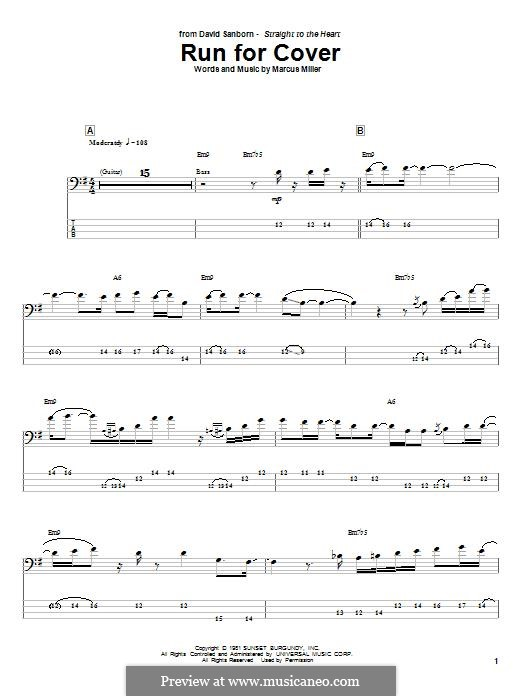 Run for Cover: For bass guitar with tab by Marcus Miller