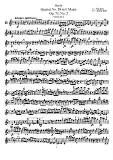String Quartet No.58 in F Major, Hob.III/73 Op.74 No.2: Violin I part by Joseph Haydn