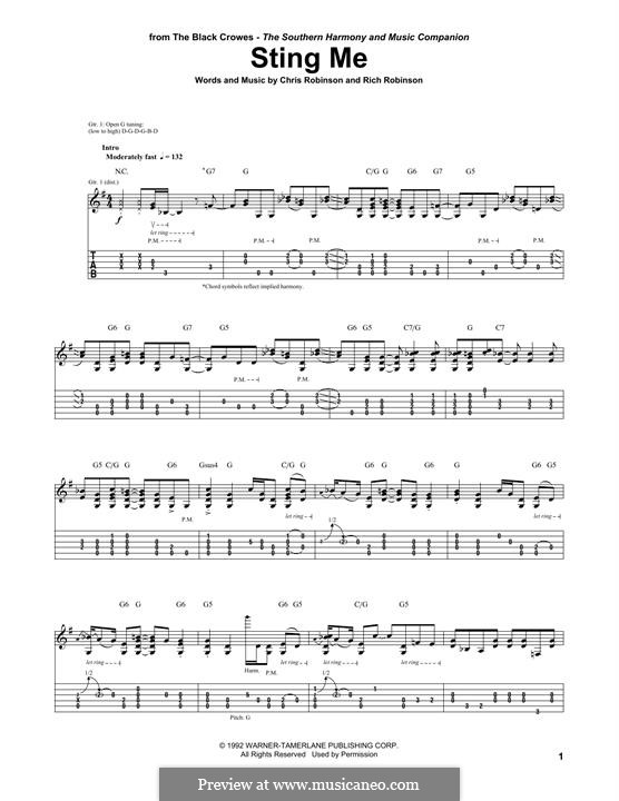 Sting Me (The Black Crowes): For guitar with tab by Chris Robinson, Rich Robinson