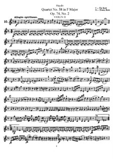 String Quartet No.58 in F Major, Hob.III/73 Op.74 No.2: Violin II part by Joseph Haydn