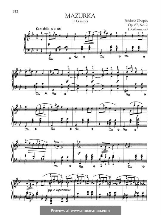 Mazurkas, Op. posth.67: No.2 in G Minor by Frédéric Chopin