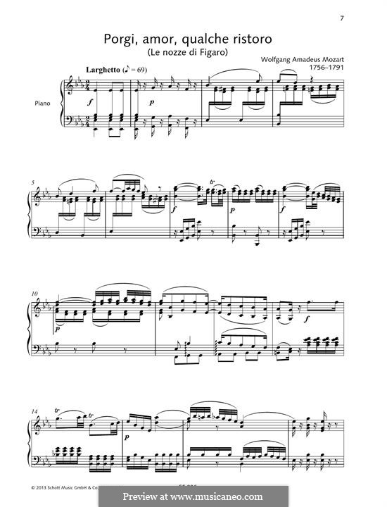 Porgi, amor, qualche ristoro (Grant, Love, Some Comfort): For voice and piano by Wolfgang Amadeus Mozart