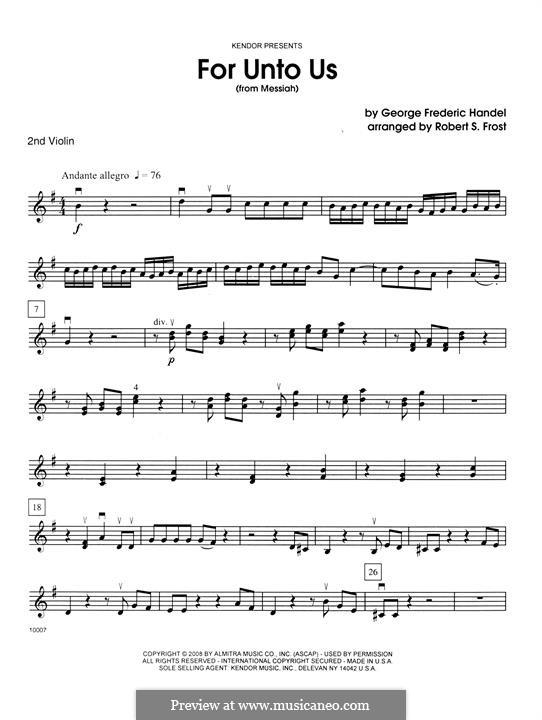No.12 For Unto Us a Child is Born: 2nd violin by Georg Friedrich Händel