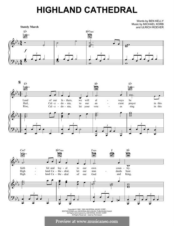Highland Cathedral: For voice and piano (or guitar) by Ulrich Roever