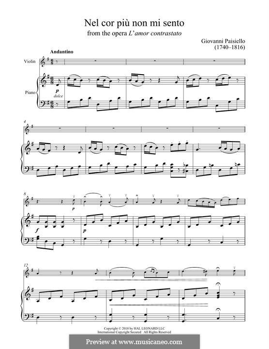 Nel cor più non mi sento, R 1.76: For violin and piano by Giovanni Paisiello