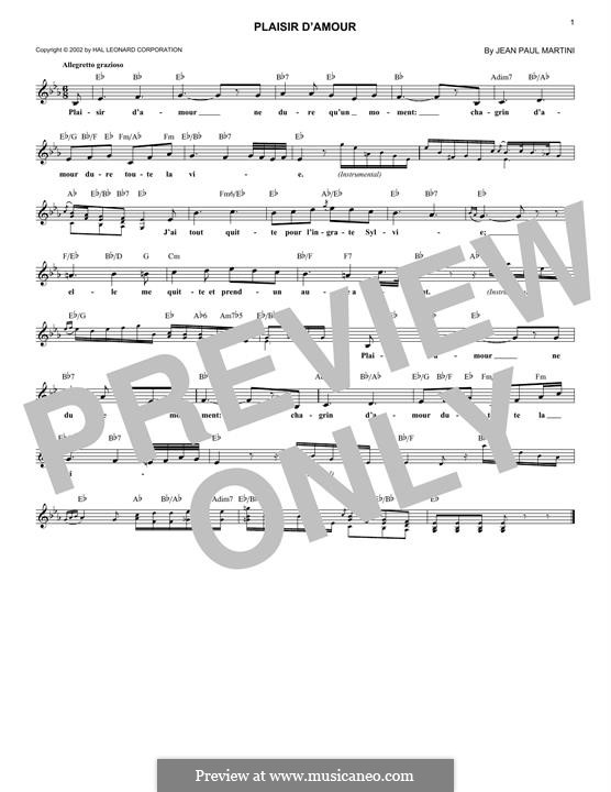 Plaisir d'Amour (The Joys of Love): Melody line by Jean Paul Egide Martini