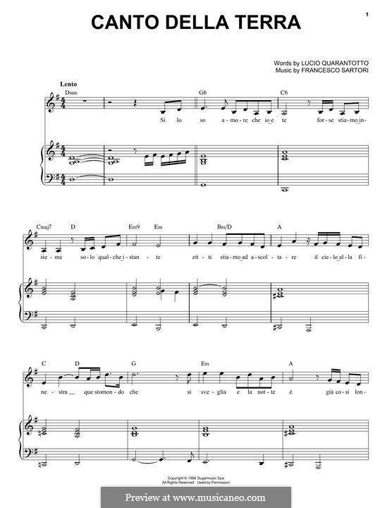 Canto della terra: For voice and piano (Andrea Bocelli) by Francesco Sartori