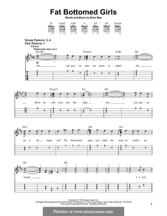 Fat Bottomed Girls: For guitar with tab by Brian May