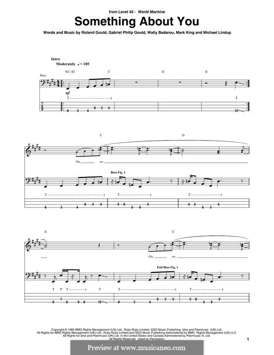 Something About You (Level 42): For bass guitar with tab by Mark King, Michael Lindup, Philip Gould, Rowland Gould, Waliou Badarou