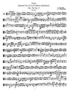 String Quartet No.61 in D Minor 'Quinten', Hob.III/76 Op.76 No.2: Viola part by Joseph Haydn