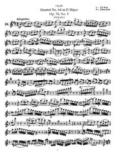 String Quartet No.64 in D Major, Hob.III/79 Op.76 No.5: Violin I part by Joseph Haydn