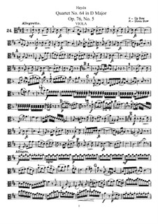 String Quartet No.64 in D Major, Hob.III/79 Op.76 No.5: Viola part by Joseph Haydn