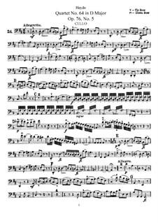 String Quartet No.64 in D Major, Hob.III/79 Op.76 No.5: Cello part by Joseph Haydn