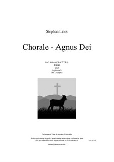 Agnus Dei for choir (SATTB), piano and Bb trumpet: Agnus Dei for choir (SATTB), piano and Bb trumpet by Stephen Lines