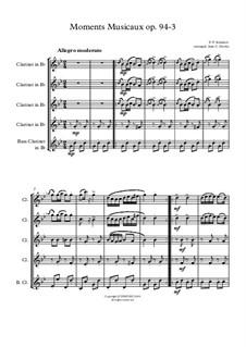 Six Musical Moments, D.780 Op.94: Musical moment No.3, for clarinet choir by Franz Schubert