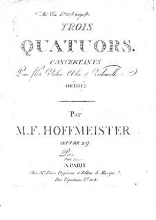 Three Сoncert Quartets for Flute, Violin, Viola and Cello, Op.29: Violin part by Franz Anton Hoffmeister