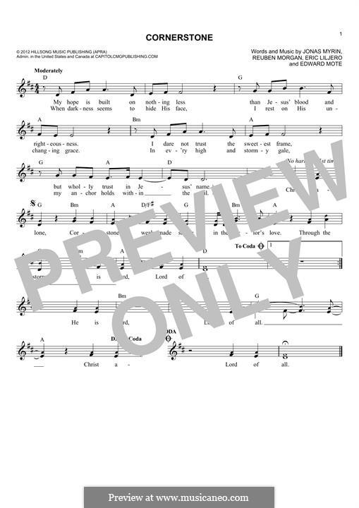 Cornerstone (Hillsong): Melody line by Jonas Myrin, Reuben Morgan, Eric Liljero