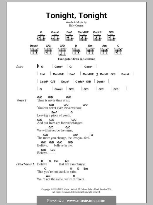 Tonight, Tonight (The Smashing Pumpkins): Lyrics and chords by Billy Corgan
