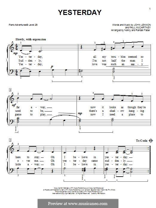 Yesterday, for Piano (The Beatles): Easy version by John Lennon, Paul McCartney