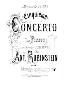 Concerto for Piano and Orchestra No.5 in E Flat Major, Op.94: Version for piano by Anton Rubinstein
