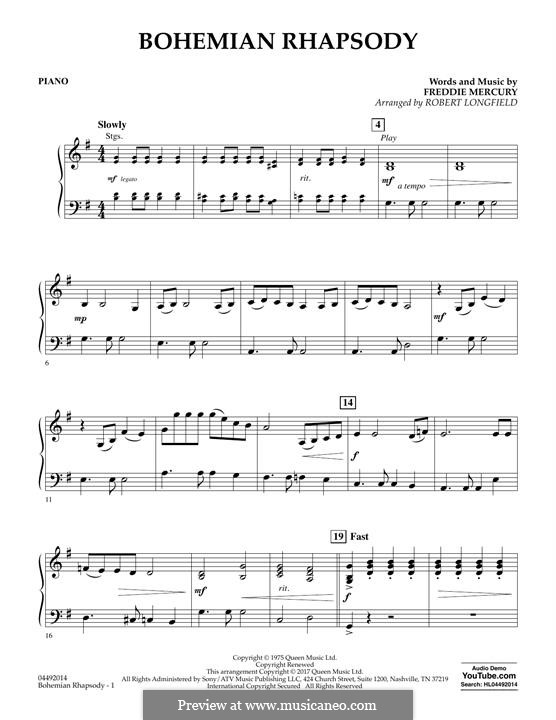 Bohemian Rhapsody (Queen): Piano part by Freddie Mercury