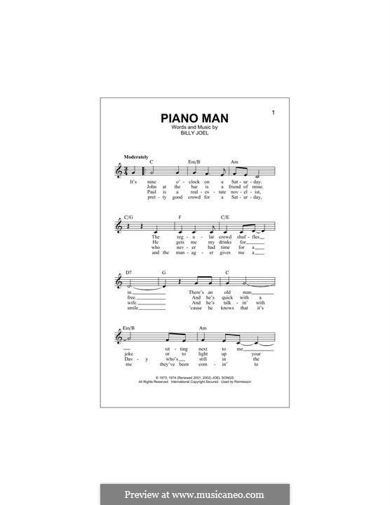 Piano Man: Melody line by Billy Joel