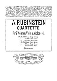 Quartet for Strings No.1 in G Major, Op.17 No.1: Violin I part by Anton Rubinstein