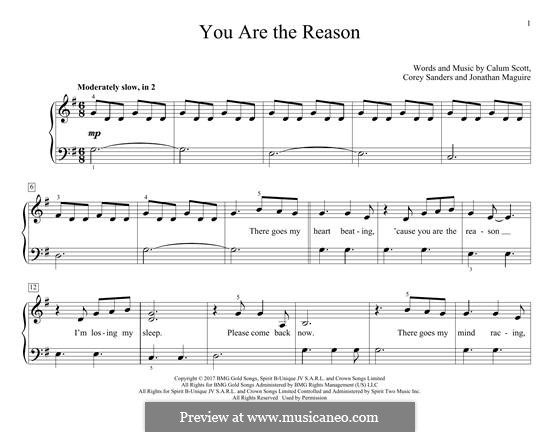 You are the Reason: For piano by Calum Scott, Corey Sanders, Jonathan Maguire