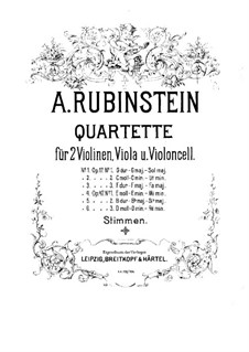 Quartet for Strings No.2 in G Minor, Op.17 No.2: Violin I part by Anton Rubinstein