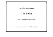 The Swan: For piano four hands by Camille Saint-Saëns